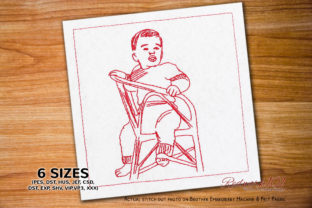 Baby Boy Sitting on Chair Babies & Kids Quotes Embroidery Design By Redwork101