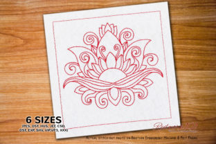 Blooming Lotus Flower Single Flowers & Plants Embroidery Design By Redwork101