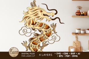 Print on Demand: CHINESE DRAGON Multilayer Laser Cut File Graphic 3D SVG By LaserCutano