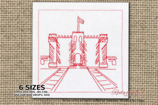 Citadel of Qaitbay in Alexandria Vacation Embroidery Design By Redwork101