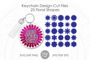 Print on Demand: Floral Keychain SVG, Floral Shapes Graphic 3D Shapes By Artisan Craft SVG