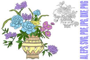 Print on Demand: Floral Line Art Tattoo Roses Vase Illust Graphic Illustrations By squeebcreative