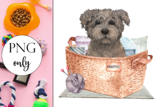Grey Puppy in Basket Graphic Illustrations By Dark Carnival