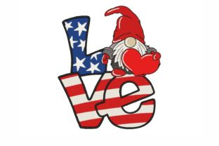 Patriotic Gnome Independence Day Embroidery Design By NinoEmbroidery