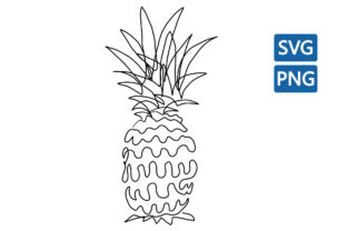 Print on Demand: Pineapple One Line Drawing Fruit Design Graphic Illustrations By Topstar