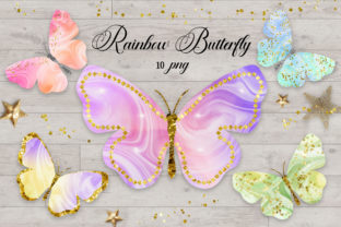 Print on Demand: Rainbow Butterfly Glitter Clipart Graphic Illustrations By PinkPearly 1