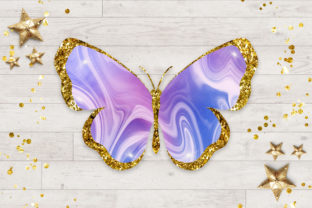 Print on Demand: Rainbow Butterfly Glitter Clipart Graphic Illustrations By PinkPearly 2
