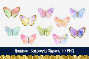 Print on Demand: Rainbow Butterfly Glitter Clipart Graphic Illustrations By PinkPearly 3