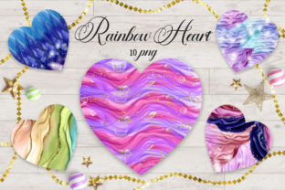 Print on Demand: Sublimation Rainbow Heart Clipart Graphic Backgrounds By PinkPearly 1