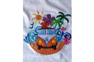 Print on Demand: Summer Breeze Camper Van Travel & Season Embroidery Design By Dizzy Embroidery Designs 2