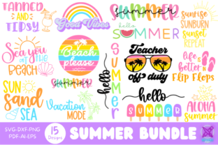 Summer Quote SVG Bundle, Cut Files Graphic Crafts By Rumi Designed