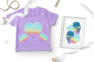 Print on Demand: Watercolor Rainbow Hearts Palm Beach Graphic Illustrations By LerVik 2