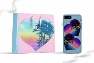 Print on Demand: Watercolor Rainbow Hearts Palm Beach Graphic Illustrations By LerVik 3