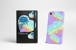 Print on Demand: Watercolor Rainbow Hearts Palm Beach Graphic Illustrations By LerVik 6