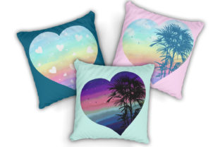 Print on Demand: Watercolor Rainbow Hearts Palm Beach Graphic Illustrations By LerVik 7