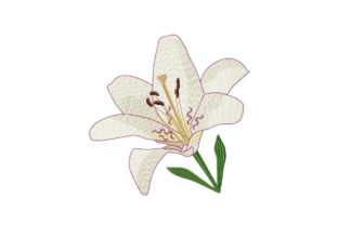 Print on Demand: White Tiger Lily Wedding Flowers Embroidery Design By EmbArt