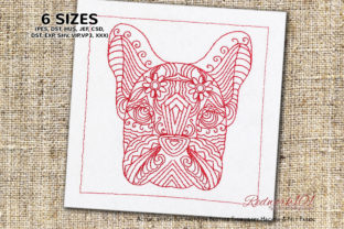Zentangle Stylized Dog Face Zentangle Embroidery Design By Redwork101 1