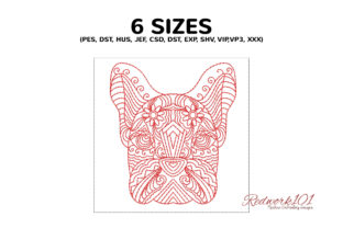 Zentangle Stylized Dog Face Zentangle Embroidery Design By Redwork101 2