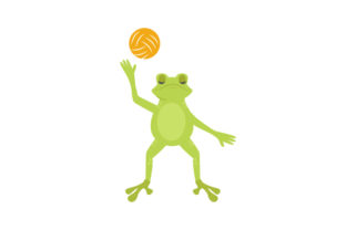 Toad Serving a Volleyball Designs & Drawings Craft Cut File By Creative Fabrica Crafts 1