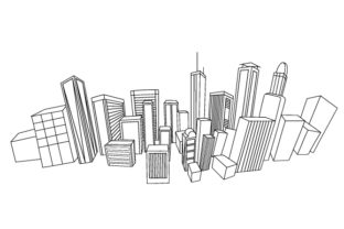 Skyline of Imaginary City Coloring Design Designs & Drawings Craft Cut File By Creative Fabrica Crafts
