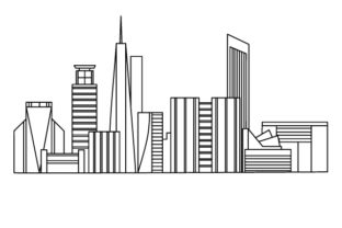 Skyline of a City Designs & Drawings Craft Cut File By Creative Fabrica Crafts