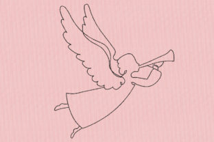 Angel Girl with Trumpet Work, Religion & School Embroidery Design By Canada Crafts Studio