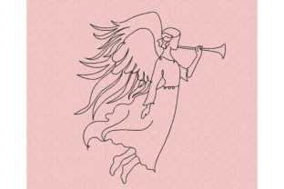 Angel with Trumpet Work, Religion & School Embroidery Design By Canada Crafts Studio