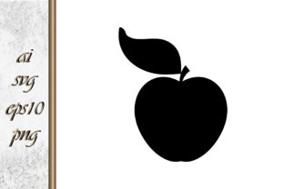 Apple with Leaf Stencil Vector Graphic Illustrations By DigitalArt 1