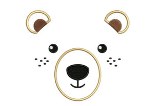 Print on Demand: Bear Face Wild Animals Embroidery Design By litcyz