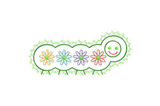 Print on Demand: Caterpillar with Rainbow Daisies Nursery Embroidery Design By EmbArt