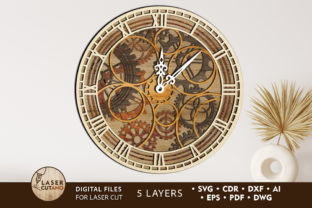 Print on Demand: Clock Multilayer Laser Cut Files Graphic Crafts By LaserCutano