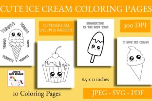 Print on Demand: Cute Ice Cream Coloring Pages Graphic Coloring Pages & Books By Janet's Cute Designs