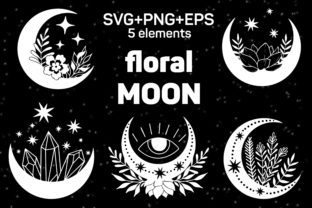 Print on Demand: Floral Moon Set of Magic Elements in Svg Graphic Crafts By SassyDesign