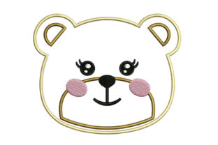 Print on Demand: Girl Bear Face Wild Animals Embroidery Design By litcyz