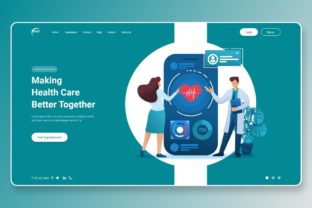 Print on Demand: Hero Header Making Heath Care Better Graphic Landing Page Templates By themesfusion