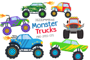 Print on Demand: Monster Trucks Clipart Graphic Illustrations By DigitalPapers