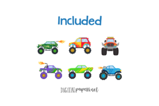 Print on Demand: Monster Trucks Clipart Graphic Illustrations By DigitalPapers 2