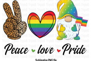Print on Demand: Peace Love Gnome LGBT Flag Sublimation Graphic Illustrations By TripleBcraft