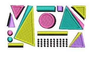 Retro Geometric Shapes Back to School Embroidery Design By Embroidery Designs