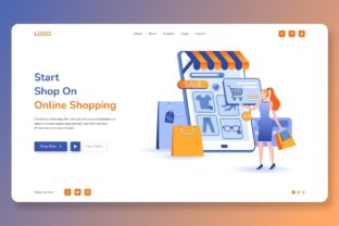 Print on Demand: Start Shop on Online Shopping Web Page Graphic Landing Page Templates By themesfusion