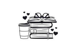 Stack of Books and Coffee Designs & Drawings Craft Cut File By Creative Fabrica Crafts