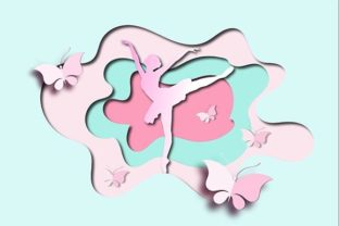 Print on Demand: 3d Ballina and Butterfly Paper Cutout Graphic 3D SVG By Bellart