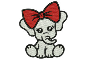 Print on Demand: Baby Elephant Baby Animals Embroidery Design By litcyz