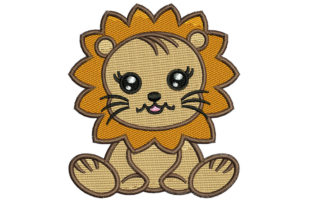 Print on Demand: Baby Lion Animals Embroidery Design By litcyz