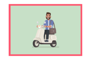 Bearded Man Riding a Scooter to Work. Graphic Infographics By Opulent Graphic