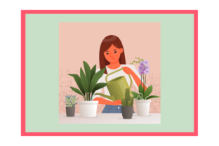 Beautiful Young Woman Watering Houseplan Graphic Illustrations By Opulent Graphic