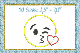 Print on Demand: Blowing Kiss Emoji Toys & Games Embroidery Design By larisaetsy