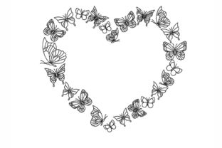 Butterflies Heart Valentine's Day Embroidery Design By NinoEmbroidery