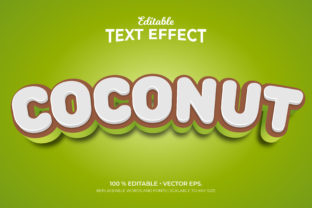 Print on Demand: Coconut 3d Style Editable Text Effects Graphic Graphic Templates By Grapeer