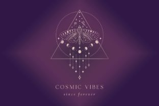 Print on Demand: Cosmic Vibes Pre-Made Logo Designs. Gold Graphic Logos By Olya.Creative